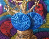 Large Round Lightweight Blue African Earrings, Stocking Stuffer, Fair Trade Jewelry, African Jewelry, Woven Earrings, Unique Earrings, Nyaka