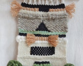 Peach, kelly green, black and cream Wall Hanging Weaving Tapestry Woven