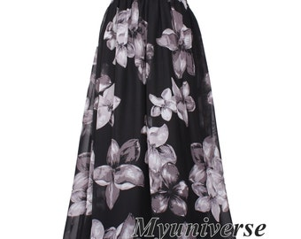 Black Maxi Dress Chiffon Floral Sundress Women Plus Size Dress Clothing Cute Dress Fancy Hanky Dress Full Length Long Hawaiian Dress Summer
