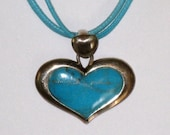 Wide Sterling Turquoise Heart Pendant On 3 Turquoise Colored Braided Cords / SX 925 Thailand / FREE US Shipping