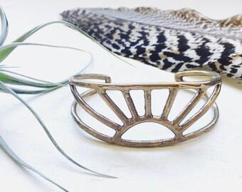 Minimalist Bohemian Brass Sunrise Cuff