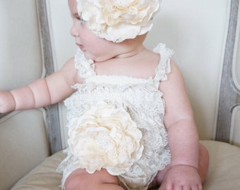 Petti Lace Romper - Petti Romper -ivory romper - flower girl outfit -  girls romper - Lace Romper - baby clothes- Baby outfit- rustic outfit