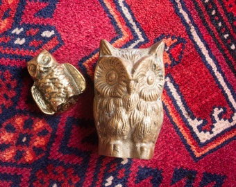 Pair of Vintage Brass Owl Figurines