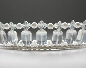 Crystal and Pearl Perfection, Bridal Tiara, Flower Girl Tiara, Birthday Tiara