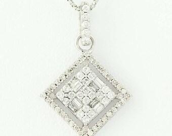 "Diamond Halo Pendant Necklace 16"" - 14k White Gold Modified Box Baguette .50ctw N9433"