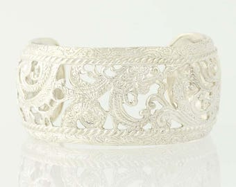 Ornate Floral Cuff Bracelet - Sterling Silver Chunky Q5700