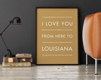Louisiana Art Prints, Louisiana Decor, Mardi Gra Decor, New Orleans Print, I Love You From Here To LOUISIANA, Shown in Harve
