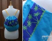 Gym bag / Swim bag - The Killing Joke - (Blue cotton bag with palmtree print) - tote / backpack / rucksack