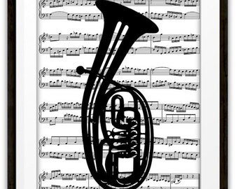 Tenor Horn Music Book Page Art Print, Home & Living, Unique Gift Ideas, Marching Band, Symphony Orchestra,Tuba Player Gift
