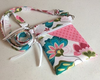 Ready to Ship IPhone Cross Body Bag -iPhone Bag - Cross Body Bag in Fantine Floral with Pink tone on tone dots