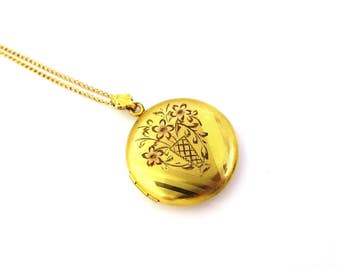Vintage Gold Locket Necklace Art Deco Necklace Forget Me Not Flowers Gold Filled 1920s Jewelry