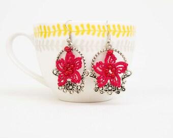 Crochet  earring , beaded crochet oya  flower earring ,cardinal red
