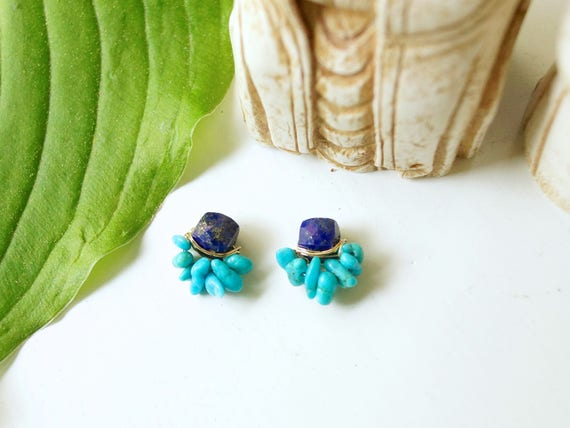 Lapis lazuli and raw turquoise cluster earrings