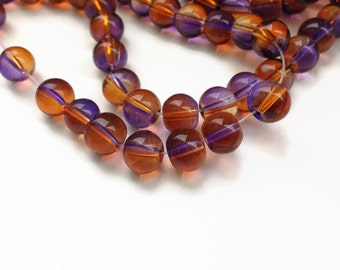 50 Glass Beads, Orange Purple Glass Beads, 8mm Round Glass Beads G 50 033