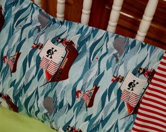 Yo ho ho Pirates . Travel/Toddler Size Cotton Pillow Case .. Hidden French Seams