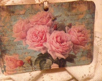 Pink French Country Floral Tags, Pink Shabby Roses, French Style Tags, Farmhouse Roses Country Decor, Spring Gift Tags,  Set of 4