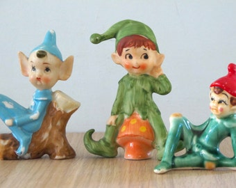 Vintage Set of 3 Ceramic Elves Pixies Ceramic Figurines Made In Japan