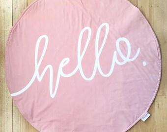 Round Play Mat - Blush Pink 'hello' Roundie - New baby photo prop - Baby girl - Tummy time - Handmade - Baby shower gift - Toy mat - Newbor