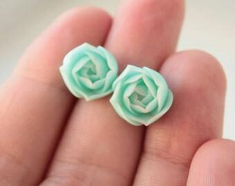 Blue Succulent Stud Earrings Wholesale Small Hypoallergenic Studs Weddings Bridal Women Accessory Birthday Wedding Earrings Gifts