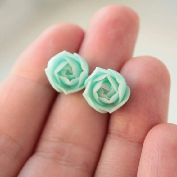 Small Blue Earrings: Blue Succulent Stud Earrings Wholesale Small Hypoallergenic