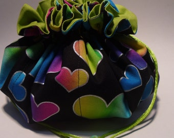 colorful hearts jewelry pouch