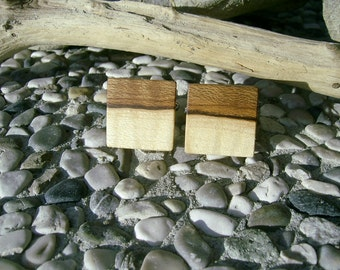 WOODEN CUFFLINKS Square Spalted MAPLE Wood Handcrafted Wooden Cufflinks