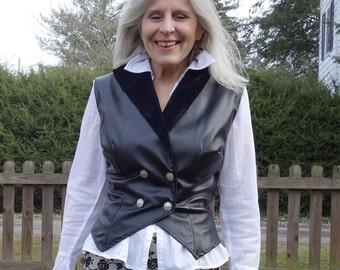 Black double breasted vest weskit waistcoat vegan leather faux leather pleather velvet vintage reproduction retro neo Victorian Steampunk