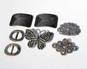 Vintage Silver and Rhinestone Costume Jewelry: 7 Vintage Pieces, Destash Lot