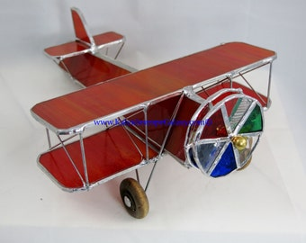 Stained Glass Airplane Kaleidoscope ~ Bi-Plane Red Kaleidoscope ~ Handmade USA ~ Pilots ~ Unique Gifts ~ Fun Beautiful View