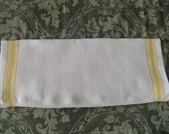 Vintage Linen Towel, Yellow Striped Linen Towel, Kitchen Accent, Vintage Linen, Textiles
