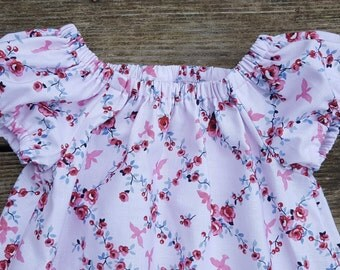 Girl's Toddlers Light Pink Roses and Birds Peasant Sundress