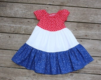 SALE - Girl's Toddlers Red White and Blue 3 Tiered Peasant Dress - Size 2T