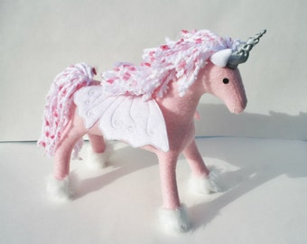 Cupcake the Buttercorn ~ Butterfly-Winged Unicorn Fantasy Plush Toy, Stuffed Animal, Eco Friendly Girls Gift, Pink and White Pegacorn Plush