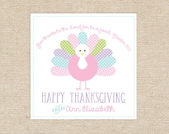 Digital Girl Turkey Thanksgiving Gift Tag