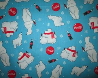 Coca Cola Coke Polar Bear Blue Cotton Fabric Fat Quarter or Custom Listing