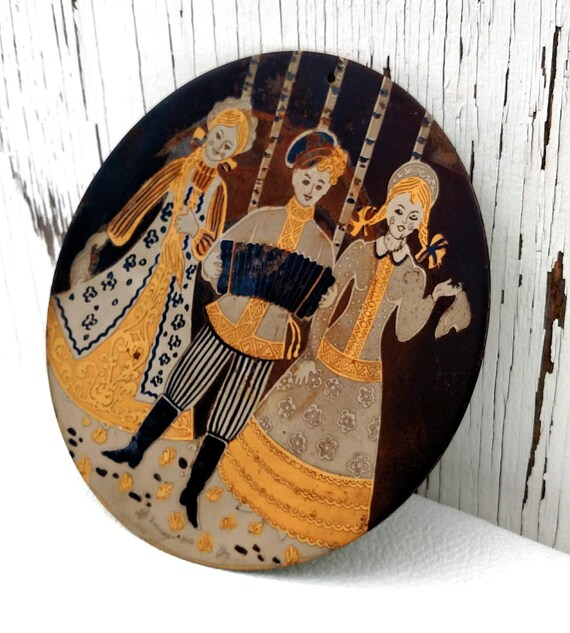 Metal Folk Art Plate from Poland with Pretty Girls and Accordion Player