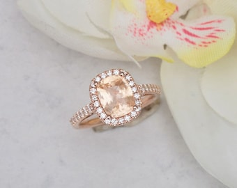 Cushion Padparadscha Sapphire Rose Gold Diamond Halo Engagement Ring