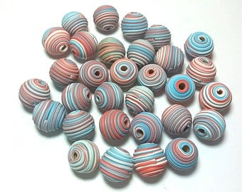 10 Fimo Polymer Clay Fimo Beads Southwest Red Skyblue Round Spiral color 14mm