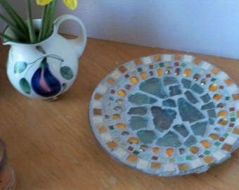Spring Sale!! Price Reduced!! Decorative mosaic plate with sea glass and marble accents