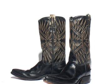 SALE 8 D | 1970's Vintage Dan Post Cowboy Boots Black Stovepipe Western Boots w/ Moc Toe