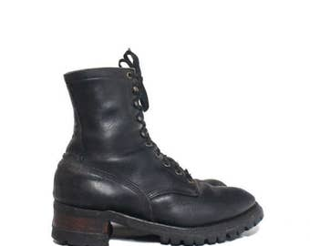 30% OFF 9 D | Men's Logger Boots Black Leather Lace Up Boot Stacked Heel