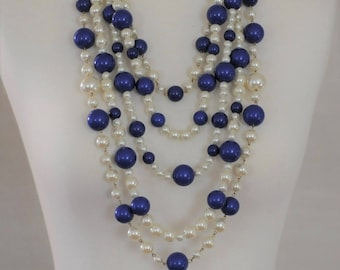 SALE - Bib Necklace, Pearl and Blue bead Necklace, Multi Strand Pearl Necklace, Long Layered Necklace, Gift for her, Long Necklace