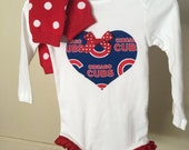 SALE!! Adorable Chicago Cubs Bodysuit with leg ruffles and matching leg warmers  Any Size newborn to 24 months bodysuit