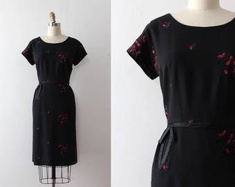 vintage 1950s dress // 50s 60s little black dress with embroidery
