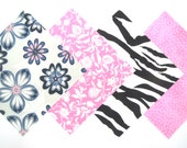Quilt Square Clearance Grab Bag in a Grey, Pink, Black and White Pretty Flowers and Matching Prints 50 Squares