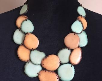 Tagua Nut Necklace/ Boho Necklace/ Tribal