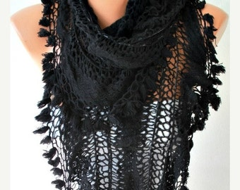 ON SALE --- Black Knitted Ruffle Lace Scarf, Winter Accessories Oversize Scarf  Shawl Scarf  Cowl Scarf  Gift Ideas For Her  Women  Fashion