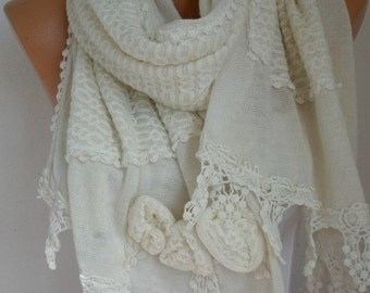 ON SALE --- Creamy White Knitted Scarf,Bridal Scarf,Winter Shawl Scarf Cowl,Bridesmaid Gift Ideas For Her Women Fashion Accessories,Wedding