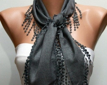 ON SALE --- Gray Chain Pashmina Scarf, Fall Winter Scarf,Cowl Scarf,Necklace,Bridesmaid Gift,Gift Ideas For Her,Women Fashion Accessories,Te