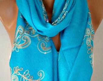 ON SALE --- Blue Embroidered Scarf,Summer Shawl, Cowl, Bridesmaid gift, Gift Ideas For Her, Women Fashion Accessories, Women Scarves,Christm